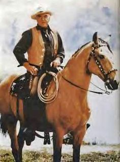 Lorne Green as Ben Cartright on his buckskin named Buck.