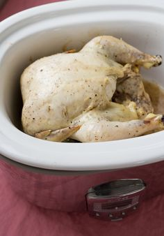 How To Cook a Whole Chicken in the Slow Cooker or Crockpot. No need to buy another rotisserie chicken when you have this trick up your sleeve! Whole chickens are cheap and yield tons of shredded chicken for use in quick and easy weeknight dinners or salads and lunches throughout the week. This recipe is the key to FAST filling meals, and all you need is chicken, salt, and pepper -- that's it!