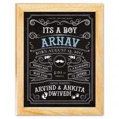 It's a Boy - Birth Announcement Chalkboard Canvas Print