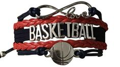 Basketball Infinity Bracelet - Navy/Red - Sportybella Softball Gifts, Cheerleading Gifts, Basketball Gifts, Basketball Coach, Basketball Players, Infinity Jewelry, Infinity Charm, Basketball Jewelry, College Gifts