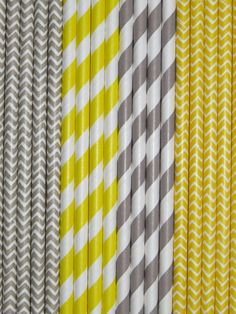 YELLOW & GREY Paper Straws Mix Stripes + Chevron DiY Flags- Wedding Kids Birthday Baby Shower Bachelorette Party Ships Fast!Free Tracking $3.39