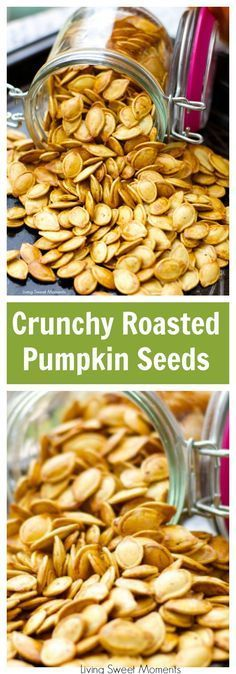 Roasted Pumpkin Seeds - don't know what to do with the seeds after you carve that pumpkin? Create a healthy crunchy snack with the seeds. Easy and delish! More healthy snack ideas at livingsweetmoments.com #pumpkin #healthysnacks #snacksforfall via @Livingsmoments