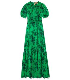 $1685 Green gown featuring a printed pattern throughout and flared skirt. ShopBazaar, shop designer clothing, shoes and accessories selected exclusively by the editors at Harper's Bazaar.