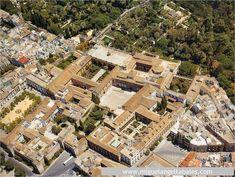 Vista aérea de los Reales Alcázares.