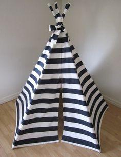Navy and white stripe tee pee.  Love.