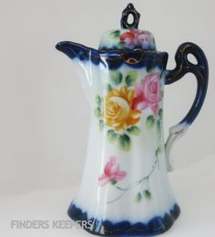 Love this shabby chic vintage chocolate pot!