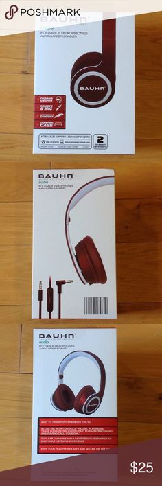 NEW Bauhn foldable headphones with carrying case Bauhn foldable headphones with carrying case. In-line mic with controls (play, pause, back, etc...). Beautiful deep red color. Brand new, still in original packaging!  Great deal. bauhn Accessories