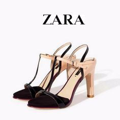 774d37c2e6d ZARA BLOGGERS T BAR  BEIGE  Black HIGH  HEEL ANKLE STRAP