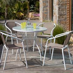 Salon de jardin 6 places Aluminium Composite : Table 180cm + 6 ...