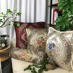 Beige / Coffee / Wine Red Jacquard Cushion Cover Home Decorative Pillows Covers
