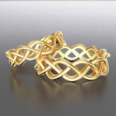 Celtic Wedding Ring Set With Braided Cut-Through Knotwork
