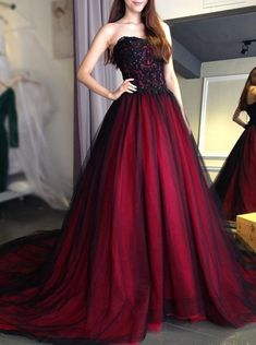 wedding dress red 2018 Sexy Gothic wedding dress black and red Sweetheart Beading Lace Up Long Black Burgundy Bridal Gowns wedding gown. Strapless Prom Dresses, Tulle Prom Dress, Lace Evening Dresses, Colored Wedding Dresses, Gothic Prom Dresses, Burgundy Prom Dresses, Evening Gowns, Gothic Gowns, Corset Dresses