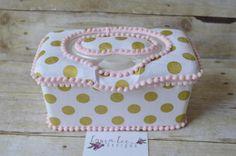Metallic Gold Dots on White Flip Top Nursery Baby Wipe Case