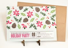 Holiday Party Invitation // Christmas Party Invite // CHRISTMAS FLORALS. $12.00, via Etsy.