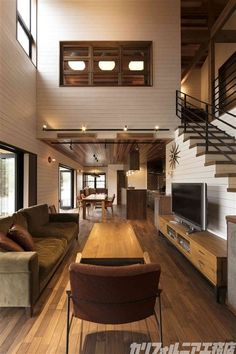 カリフォルニア工務店 – Home One Floor Design Loft Interior Design, Home Room Design, Small House Design, Loft Design, Modern House Design, Loft House, House Rooms, Narrow House, Loft Interiors