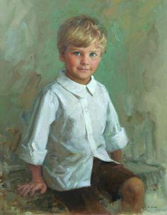 Gorgeous oil portrait of a young boy by a Portraits, Inc. artist
