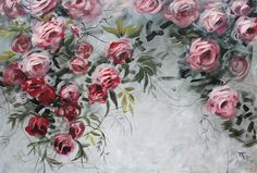 Over the bed art, Pink canvas painting, Flowers painting, Floral wall art, Over the couch painting, Roses painting, Canvas painting, Pink and gray art, Bedroom painting, Blush pink painting, Abstract painting, Art gift for wife, Wedding gift art, Blossom painting Original artwork with