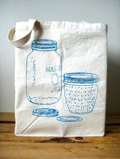 Reusable Recycled Cotton Grocery Shopper Tote  by ohlittlerabbit, $17.50
