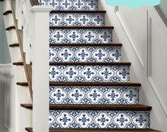 15steps Stair Riser Vinyl Strips Removable Sticker Peel U0026 Stick : Antique  Dutch Tile BW002