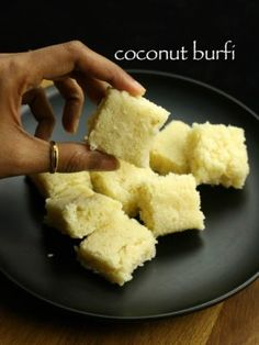 coconut burfi recipe, kobbari mithai, nariyal barfi, thengai burfi or naralachi vadi with step by step photo/video recipe. Coconut Recipes Easy, Coconut Burfi, Burfi Recipe, Indian Veg Recipes, Indian Dessert Recipes, Sweets Recipes, Snack Recipes, Indian Sweets, Indian Recipes