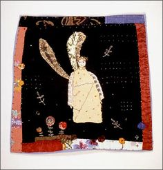 Janet Bolton: 'Angel amongst the flowers' 180 x 180 mm Art Textile, Textile Artists, Textiles, Janet Bolton, Small Quilts, Mini Quilts, Bird Quilt, Fabric Pictures, Fabric Journals