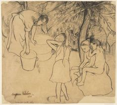 """Suzanne Valadon (French, 1865–1938)  Drawing for the drypoint Children's Bath in the Garden (Toilette des enfants dans le jardin)    1910. Crayon and pencil on paper, 12 7/8 x 14 1/2"""" (32.7 x 36.8 cm). The Joan and Lester Avnet Collection. © 2013 Artists Rights Society (ARS), New York / ADAGP, Paris"""
