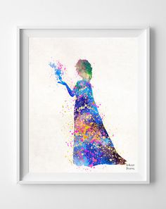 Frozen Poster, Elsa Print Watercolor, DIsney Painting, Elsa Illustration Art, Watercolour, Wall Art, Nursery, Fine Art, Home Decor [NO 236] on Etsy, $9.95