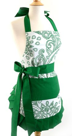 Old Fashioned Aprons, Oven Mitts and Gloves for Sale: Flirty Aprons Women's Original Green Goddess $34.95 #apron #vintage #retro
