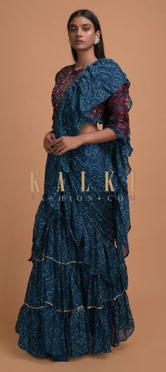 Buy Online from the link below. We ship worldwide (Free Shipping over US$100)  Click Anywhere to Tag Sapphire Blue Ready Pleated Ruffle Saree In Chiffon With Bandhani Print All Over Online - Kalki Fashion