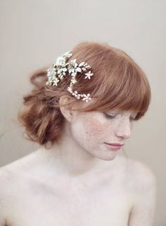 Bridal crystal headpiece, hair comb, flower and beads - Crystal blossom headpiece - Style 352