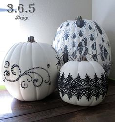 Vintage Inspired Black and White Halloween Pumpkins by 3six5design, $150.00