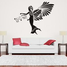 Floral Angel Wall Art Sticker Wall Art Decal - Angels & Wings - Fantasy
