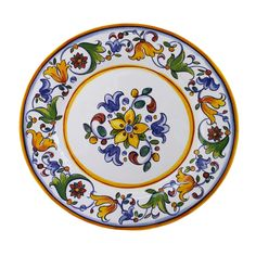 Le Cadeaux Capri - 16 Inch Platter- A 16 by 15 inch oval platter, like a family style platter, in the Capri pattern from Le Cadeaux! Melamine is extremely durable and lightweight dinnerware that is dishwasher safe. Le Cadeaux makes the best quality m Hand Painted Ceramics, Porcelain Ceramics, China Porcelain, Painted Porcelain, Ceramic Plates, Melamine Dinnerware, Tableware, Decoupage, Shades Of Light Blue