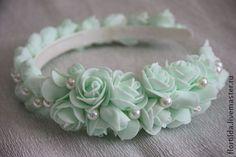 """Ободок с цветами из фоамирана """"Модный Тиффани"""" - мятный,ободок для волос"""