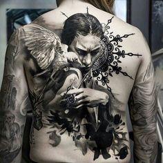 Wonderful full back tattoo by Adrian Lindell – Tattoos – Cozy Places Tattoos Motive, Life Tattoos, Body Art Tattoos, Sleeve Tattoos, Tatoos, Back Tattoos For Guys, Full Back Tattoos, Full Tattoo, Dark Tattoo