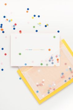 Modern Colorful Confetti Baby Shower Invitations: http://ohsobeautifulpaper.com/2015/01/confetti-baby-shower-invitations/ | Design + Photo: Lauren Chism Fine Papers