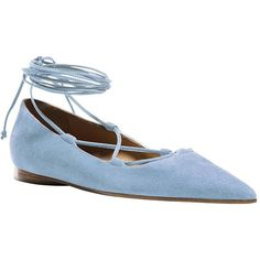 Michael Kors Kallie Suede Lace-Up Point Toe Flats ($347) ❤ liked on Polyvore featuring shoes, flats, light blue, flat pumps, light blue shoes, lace up flat shoes, lace up flats and flat pointed toe shoes