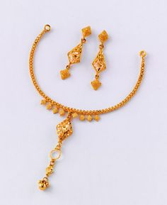 """Mind-Blowing Necklace set - from the gold factory""  Necklace - 4.800 gm, Rs 15,320/- Earring - 3.200 gm, Rs 10,200/-"
