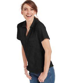 Karen Scott Short-Sleeve Polo Top
