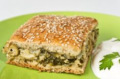 Thick-Crusted Greens, Onion, and Feta Pie