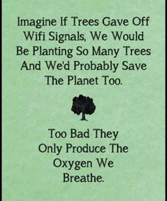 Imagine if trees gave off wifi signals. We would be planting so many trees and we'd probably save the planet too. Too bad they only produce the oxygen we breathe.