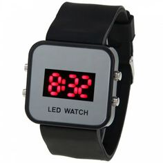 Waterproof Rubber Band Sport Watches with Red Light Display Time Square Shaped (Black), BLACK in Sport Watches