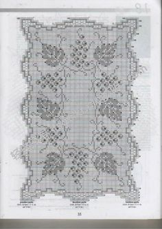 "Photo from album ""Crochet Creations on Yandex. Crochet Doilies, Crochet Lace, Filet Crochet Charts, Chrochet, Vintage Crochet, Grape Vines, Projects To Try, Bullet Journal, Knitting"