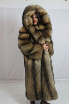 Hooded Finnish Raccoon Fur Coat | Furs & Softwear 5 | Pinterest