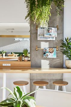 Kitchen if concrete wall incorporated