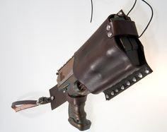 Dark brown leather holster for maverick nerf gun