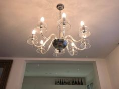 Chandelier, in Murano blown glass, available with different number of lights, handmade, crystal transparent color di Muranospareparts su Etsy