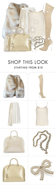 """""""Nude caramel look for Gabi"""" by faanciella ❤ liked on Polyvore featuring Casadei, Whistles, The Row, Louis Vuitton, Monsoon and gabriellademartino"""