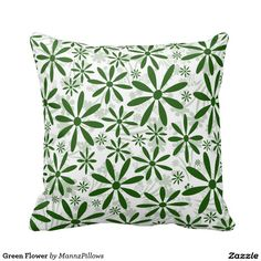 Shop Green Flower Throw Pillow created by MannzPillows. Green Flowers, Custom Pillows, Knitted Fabric, Your Design, Home Accessories, Cushion, Throw Pillows, Make It Yourself, Knitting