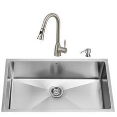 VIGO 32-in x 19-in Matte and Brushed Steel-Stainless Single-Basin Undermount Commercial and Residential Kitchen Sink All-In-One Kit